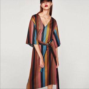 Zara Striped Tie-Waist Midi Dress (D3)